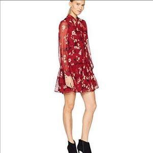 KATE SPADE Red Camelia Chiffon Floral Dress Women's Size 10 (Medium) NEW